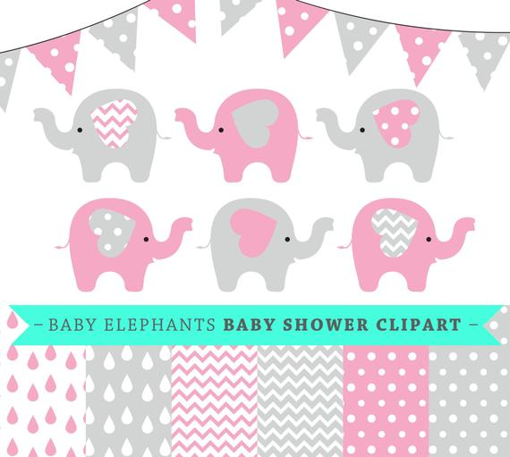 570x511 Premium Baby Shower Vector Clipart Baby Elephants Pink And Etsy