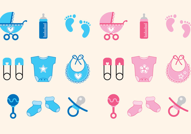 632x443 Baby Shower Icons Girl And Boy Free Vector Download 343777 Cannypic