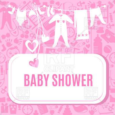 400x400 Baby Shower Card In Pink Color Vector Image Vector Artwork Of