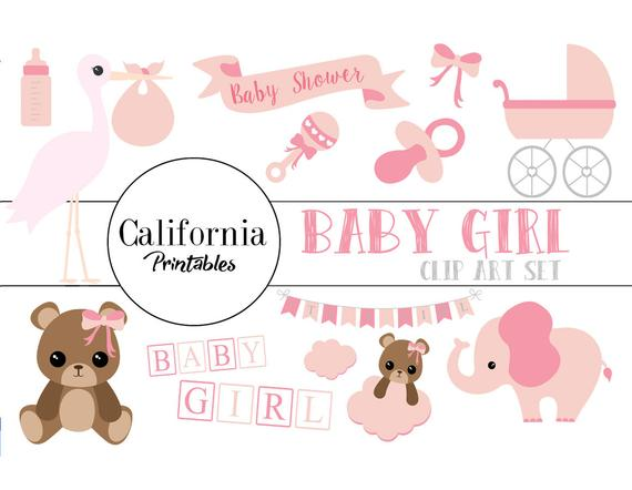 570x442 50% Off Baby Shower Clip Art Set Set Of 22 Baby Shower Etsy