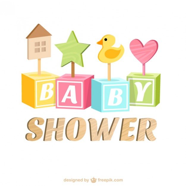 626x626 Baby Shower Card With Wooden Toys Vector Free Download