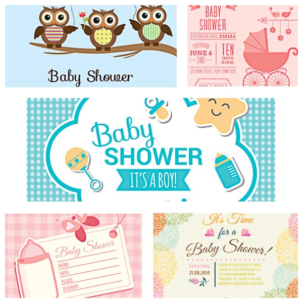 600x600 Baby Shower Cards Set Vector Free Download