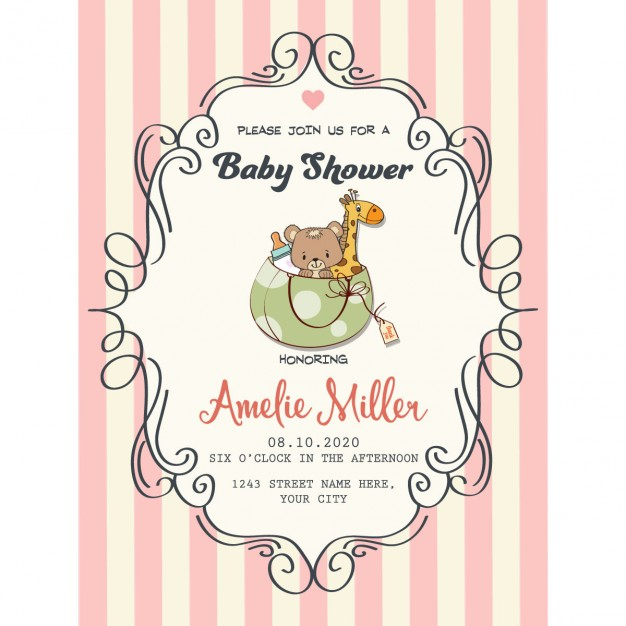 626x626 Pretty Frame On Red Lines For Baby Shower Vector Free Download
