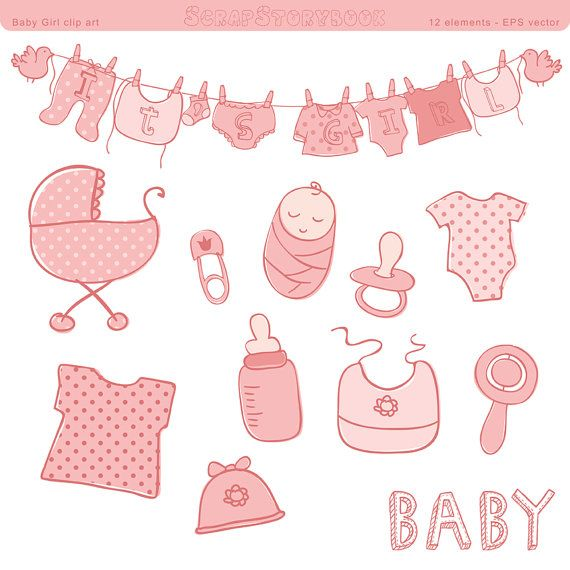 570x570 Baby Shower Clip Art Girl Eps Vector File Pastel Pink Polka Baby
