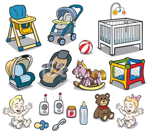 491x439 Baby Stuff Stock Vector