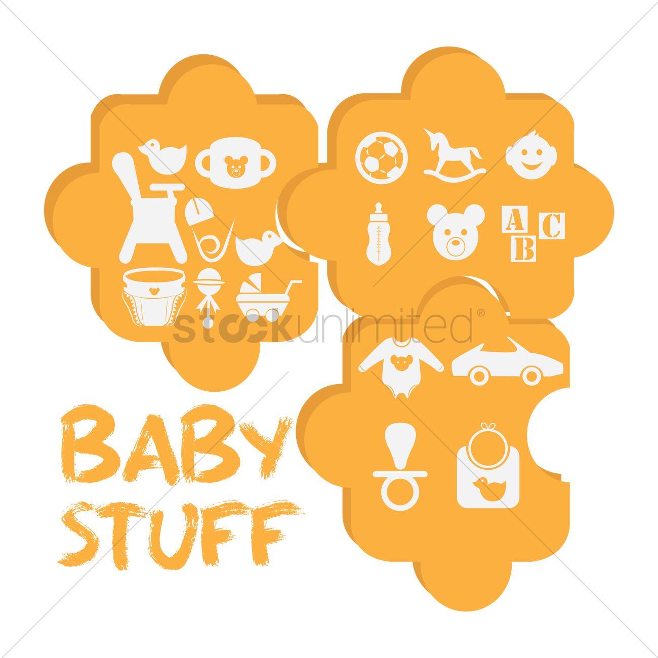 1300x1300 Baby Stuff Vector Image