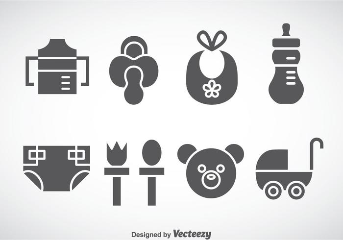 700x490 Kids And Baby Stuff Grey Icons Vector