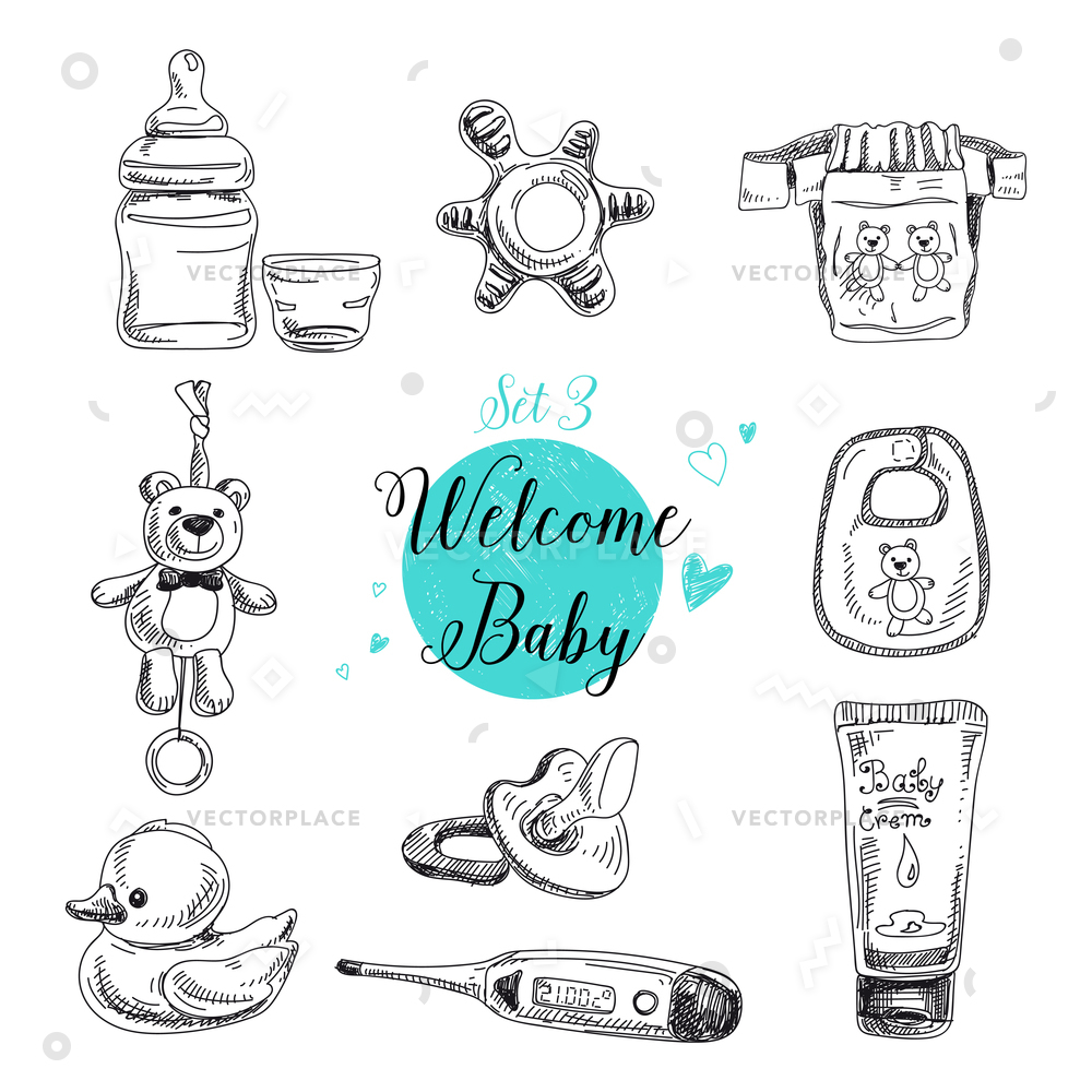 1000x1000 Set Highly Detailed Hand Drawn Baby Vector Illustration 60416