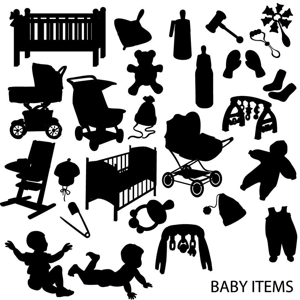 1000x1001 Siluetas De Objetos De En Vector (Vector Baby Stuff