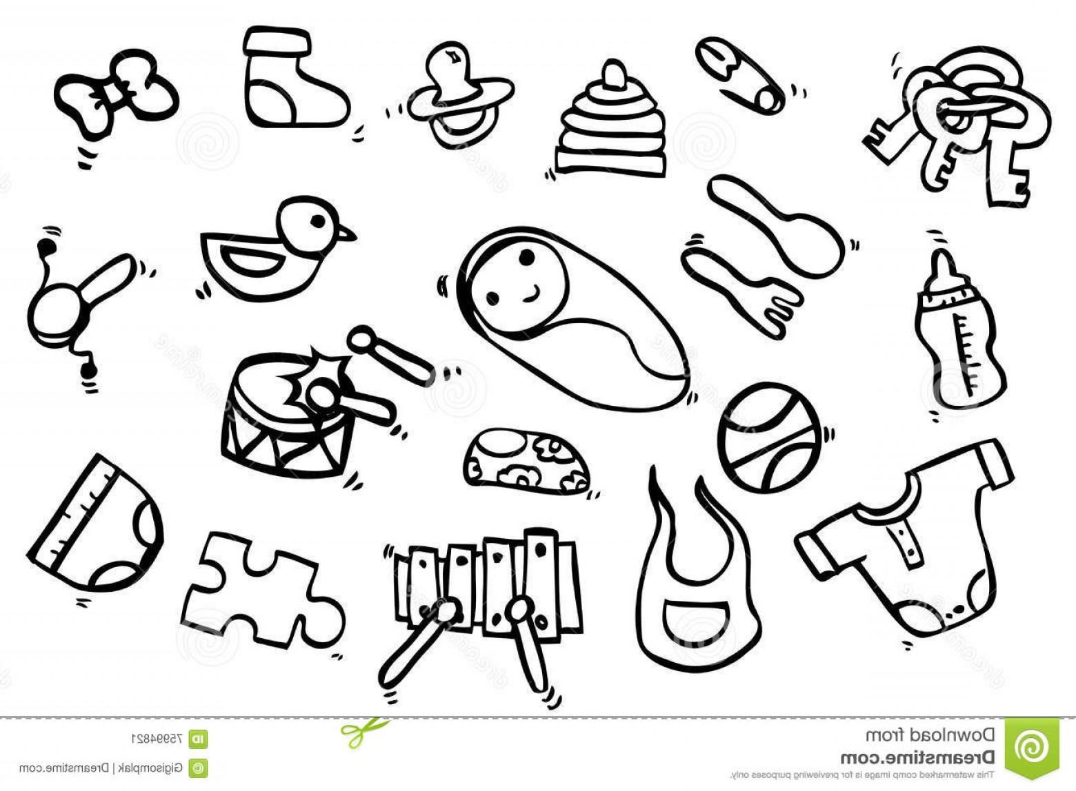 1560x1148 Stock Illustration Hand Draw Sketch Baby Stuff Vector Image