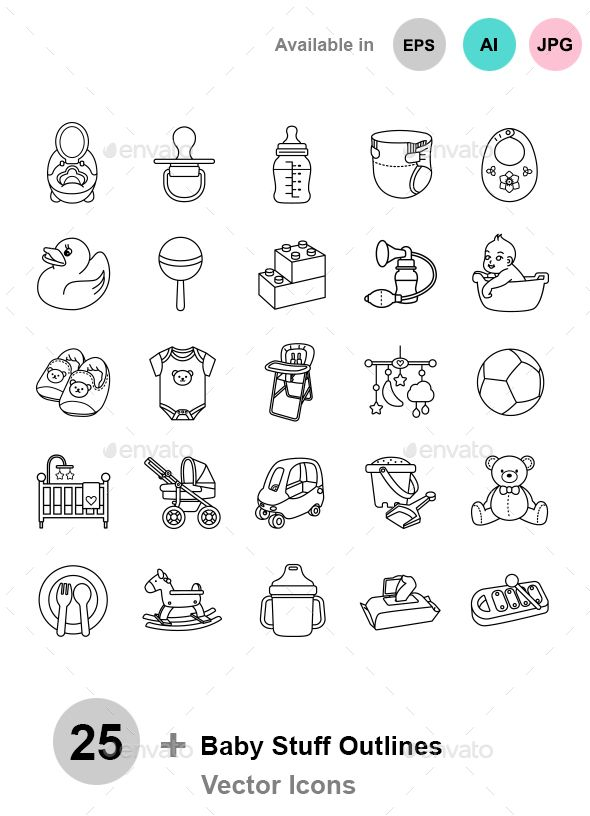 590x816 Baby Stuff Outlines Vector Icons