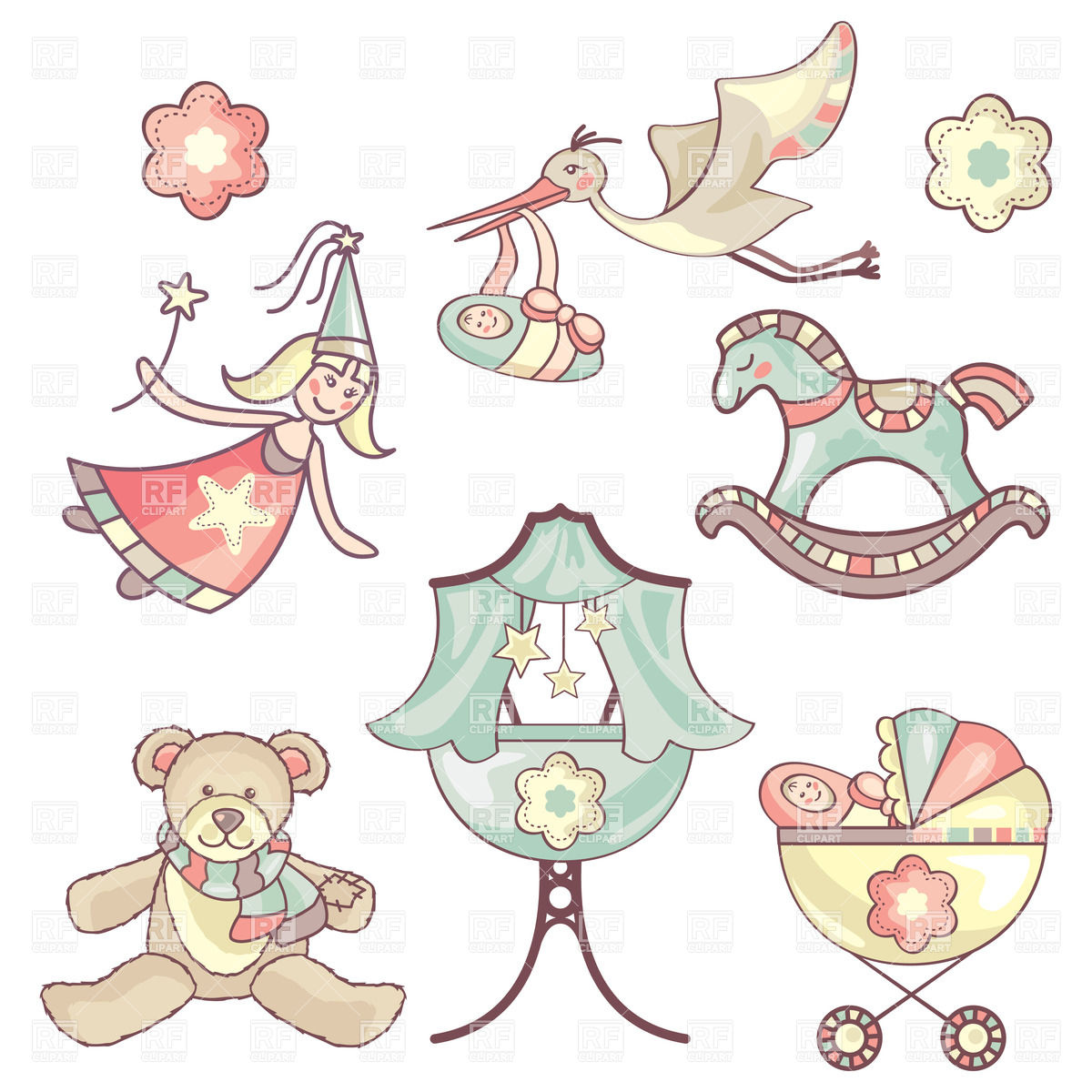 1200x1200 Baby Toys And Childhood Symbols Vector Image Vector Artwork Of