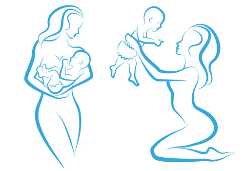 500x350 Mother And Baby Line Silhouette Vector Free Vector 4vector