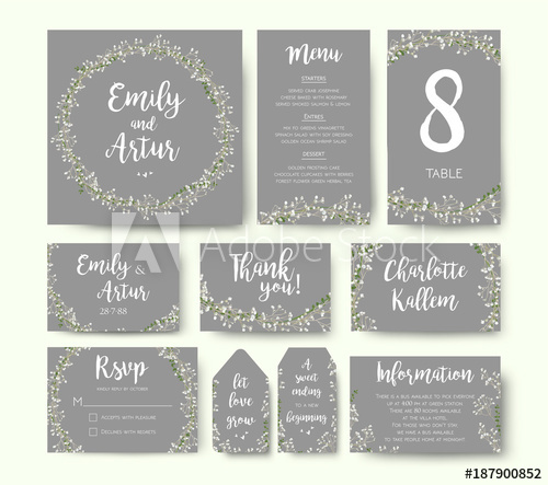 500x443 Wedding Floral Invitation Invite Flower Card Silver Gray Design