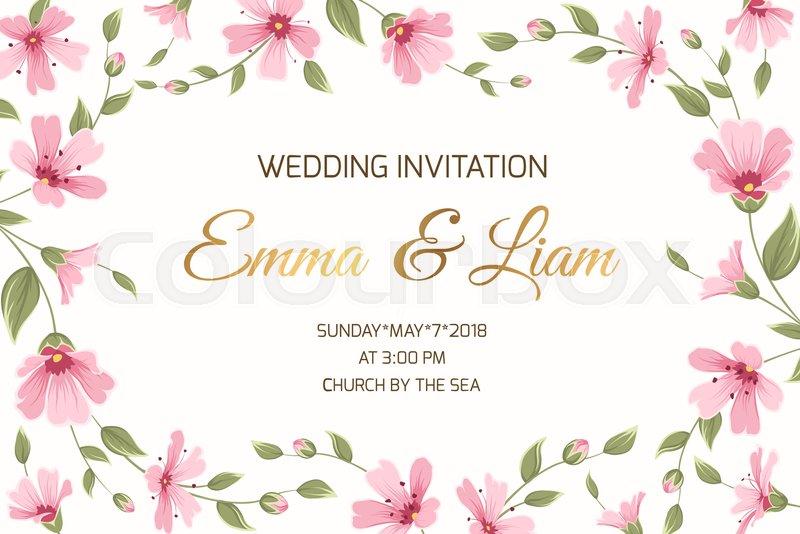 800x534 Wedding Marriage Event Invitation Card Template. Gypsophila Babys