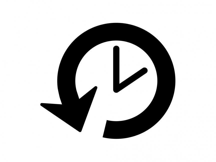 866x650 Clock Back Arrow Vector Icon