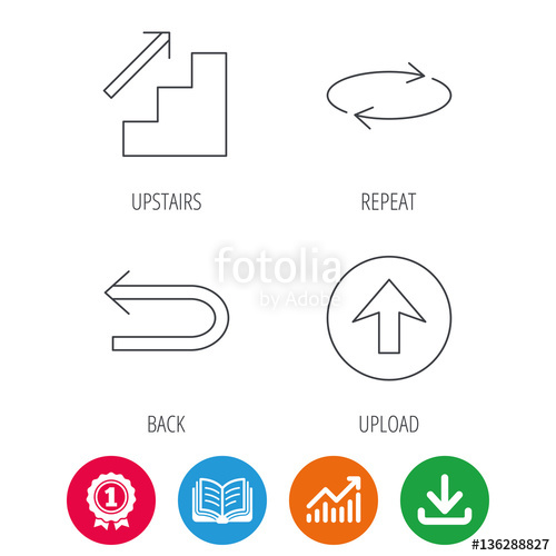 500x500 Arrows Icons. Upload, Repeat And Shuffle Linear Signs. Upstairs