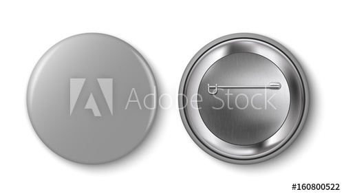 500x282 Grey Pin Button, Vector. Pin Button Set. Collection Of Realistic