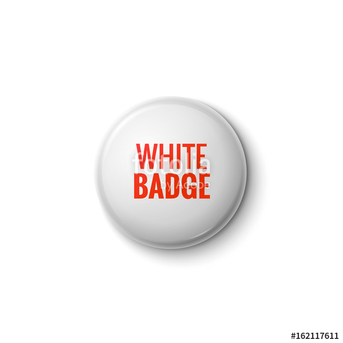 500x500 White Glossy Badge Or Web Button. Vector Blank Badge Isolated