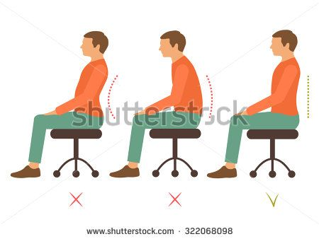450x338 Correct Spine Posture, Bad Sitting Position, Back Pain, Vector