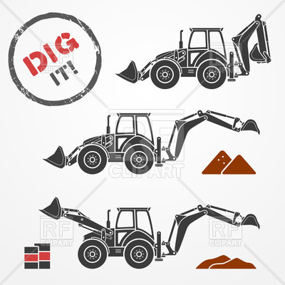 400x400 Excavator Silhouettes With Dirt And Barrels Vector Image Vector
