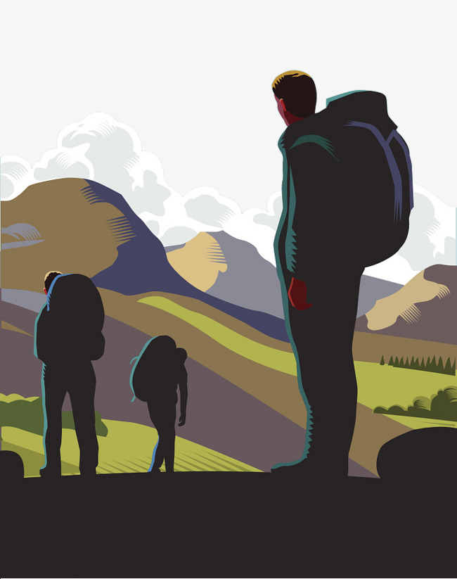 650x823 Oil Painting, Vector, Backpacker, Silhouette, Oil Clipart
