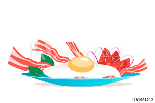 500x334 Breakfast With Egg And Bacon Vector Illustration. Cartoon Flat
