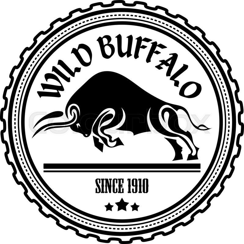 799x800 Logo, Label Two Buffalo, Bull Fighting. Design Badge For Your Farm