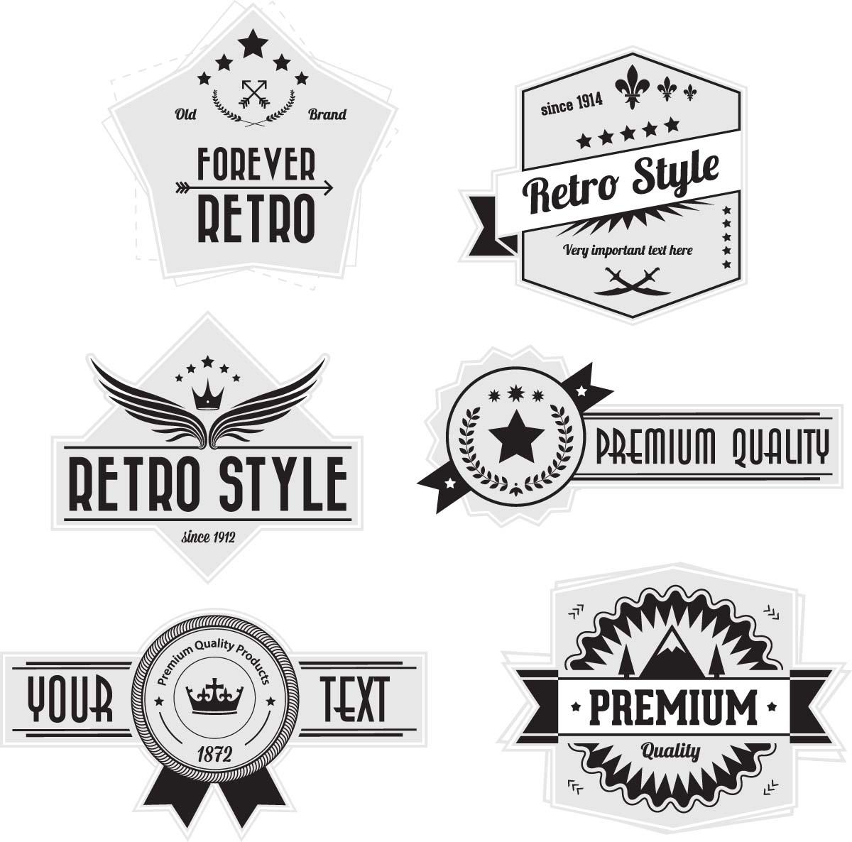 1200x1186 Retro Badges Logo Set Vector Free Download