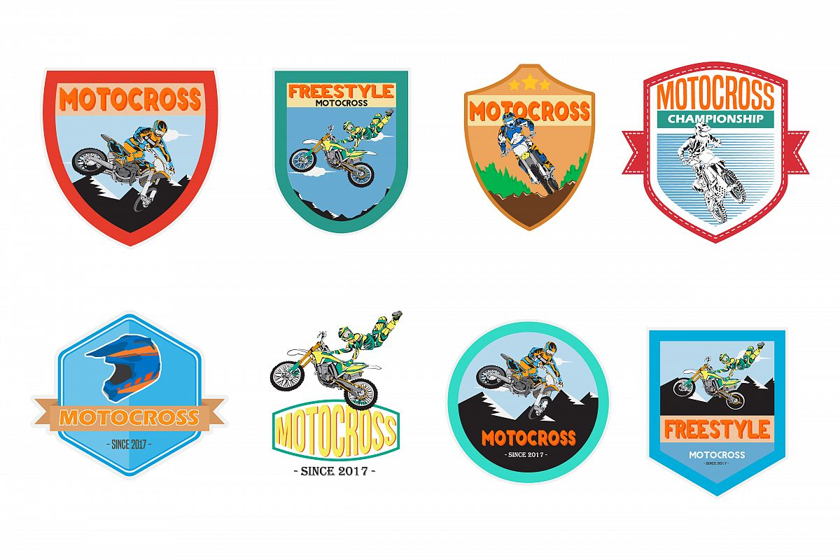 1200x800 Set Of Motocross Badge Logo Vector