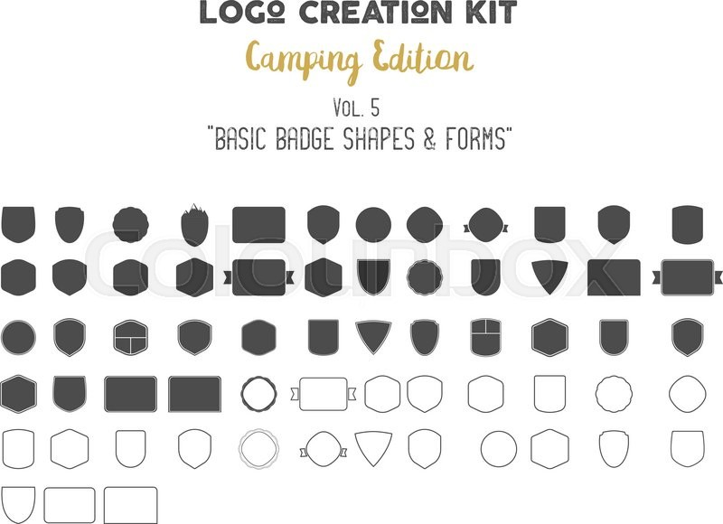 800x580 Logo Creation Kit Bundle. Camping Edition Set. Basic Badge Shapes