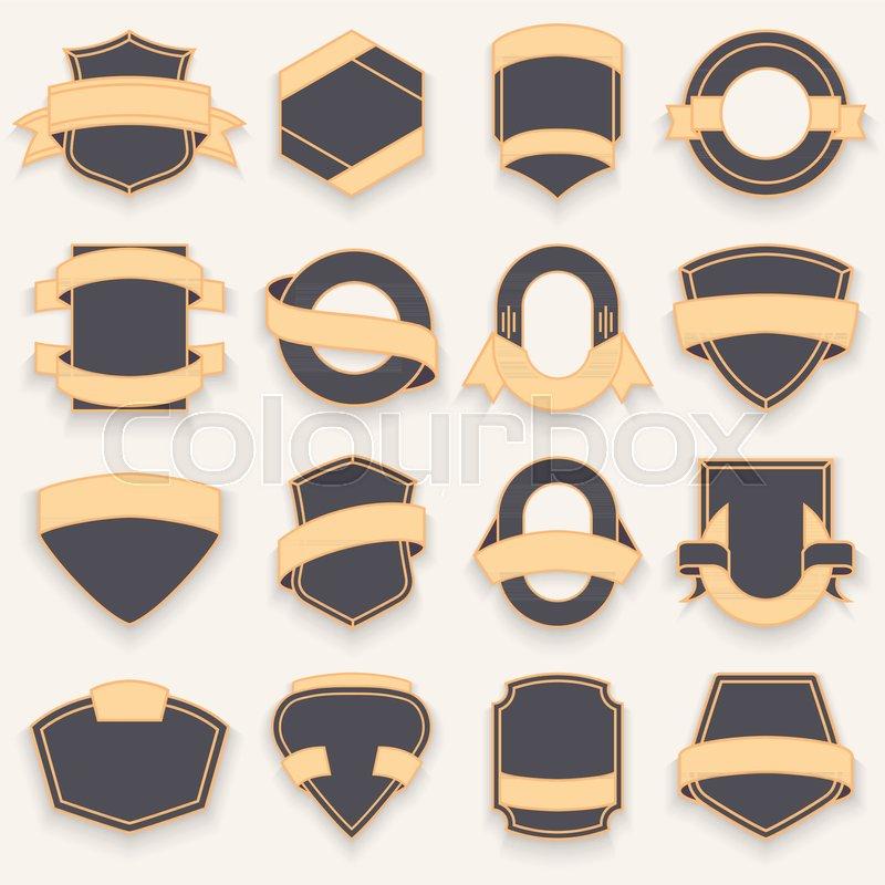 800x800 Set Of Blank Empty Dark Shields. Shield Badge Shapes. Vintage