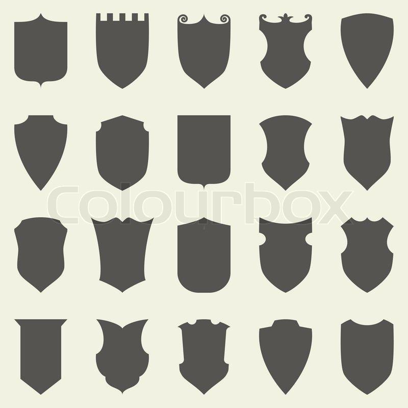 800x800 Set Of Blank Empty Dark Shields. Shield Badge Vector Shapes Icon