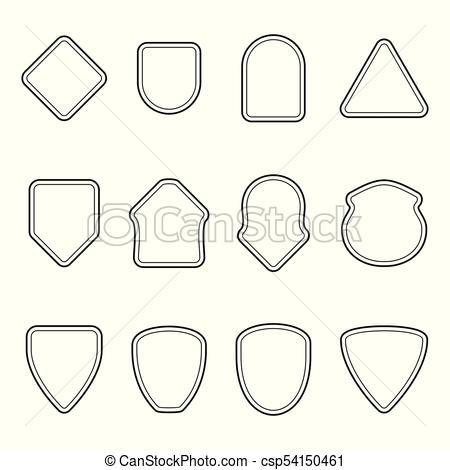 450x470 Set Of Outline Badge Shape. Set Of Outline Badge Shape. Trophy And