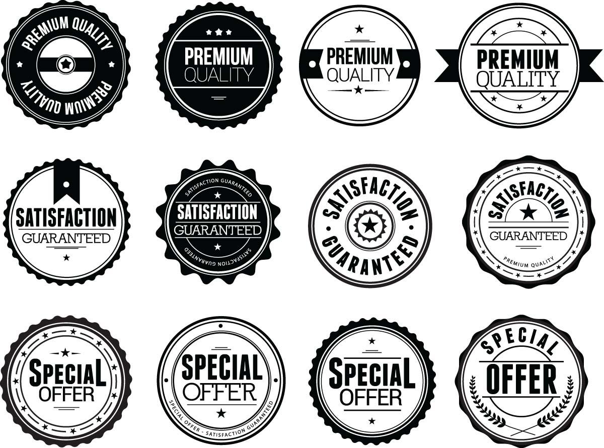 1200x890 Modern Black Badges Set Vector Free Download