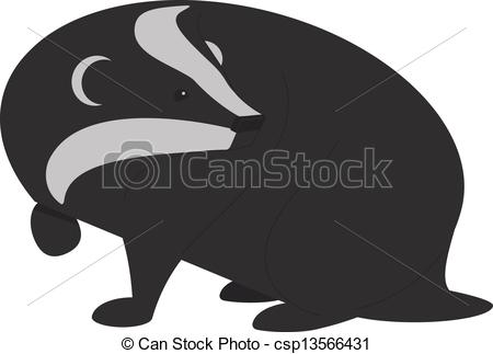 450x323 Vector Illustration Of A Badger Hunting A Small Snail. It Was