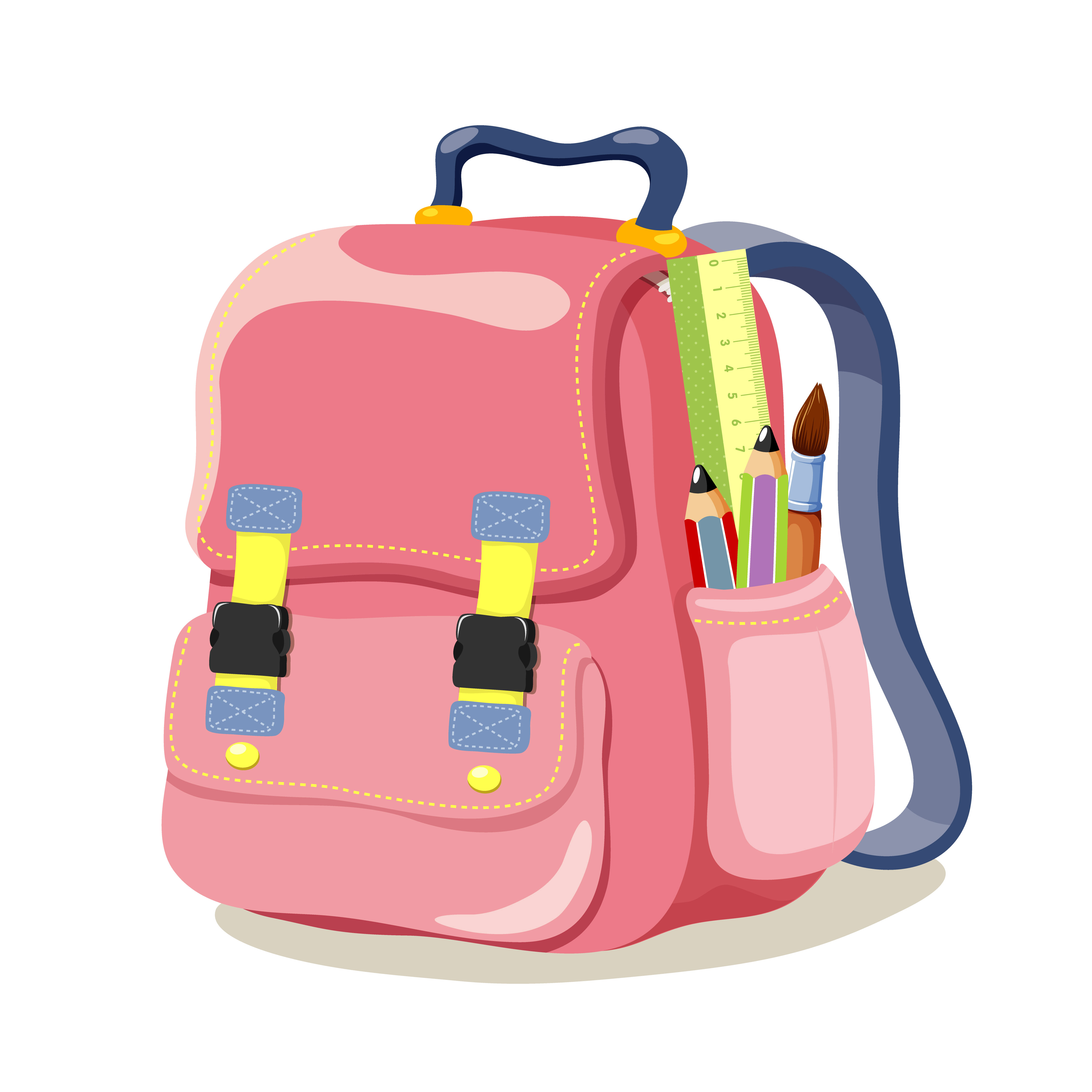 4500x4500 Colored School Bag Vector 04 Free Download