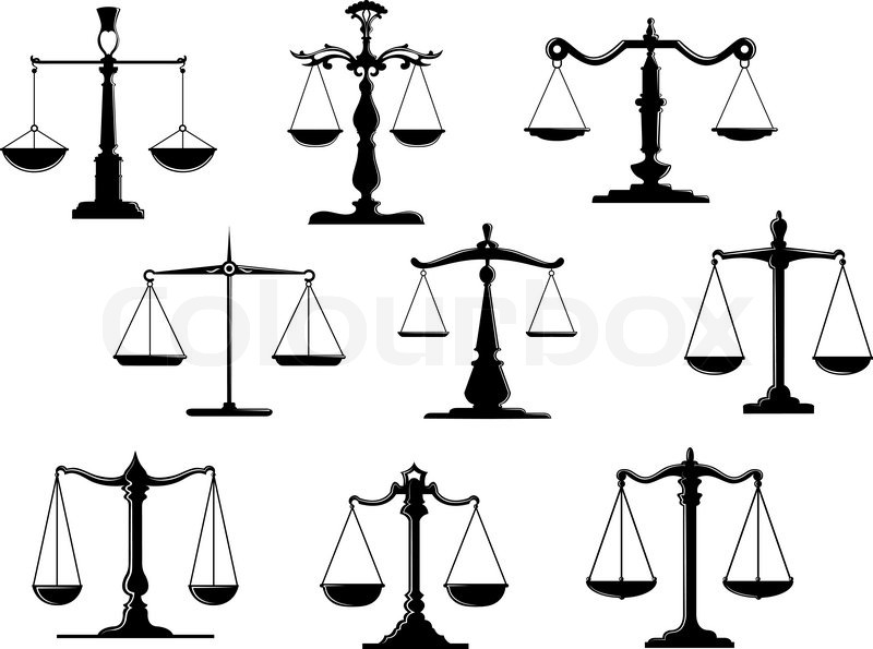 800x595 Black Law Scale Icons With Balance Position Isolated On White