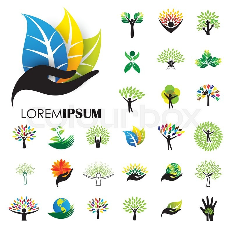 800x800 Human Life Logo Icons Of Abstract People Tree Vectors. This Design