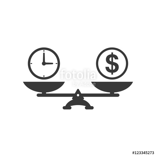 500x500 Time And Money Scales Icon. Money And Time Balance On Scale