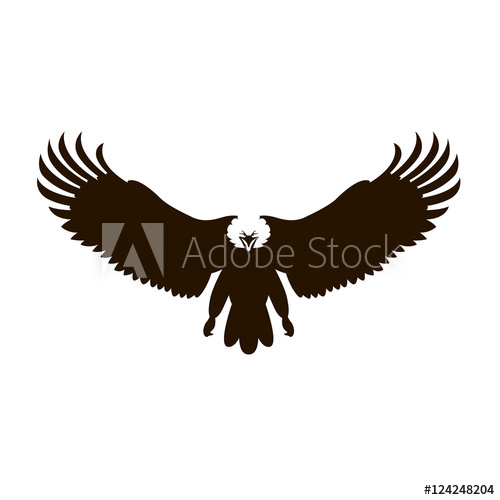 500x500 Bald Eagle Vector Illustration Black Silhouette