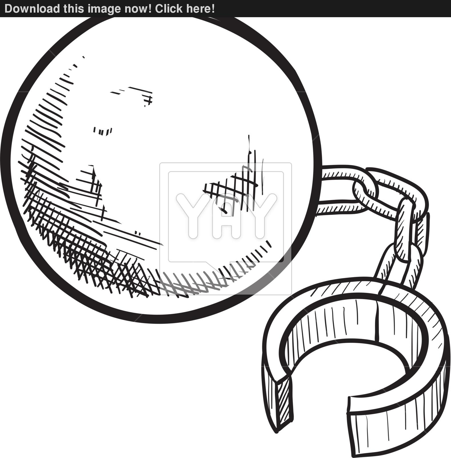 1578x1600 Ball And Chain Vector Sketch Vector