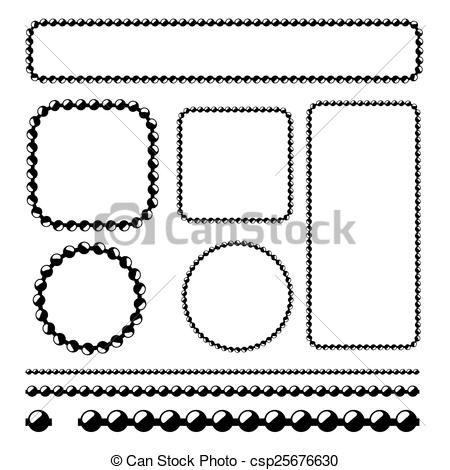 450x470 Ball Chain Frames, Vector Stencil For Borders, Dividers.