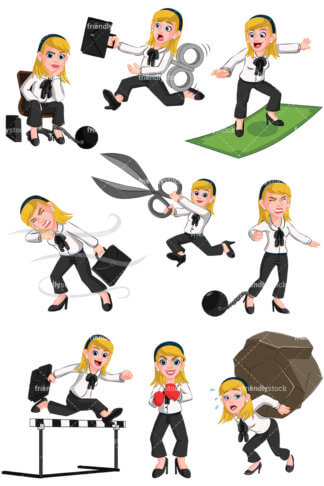 324x486 Business Woman Wearing Ball And Chain Vector Cartoon Clipart