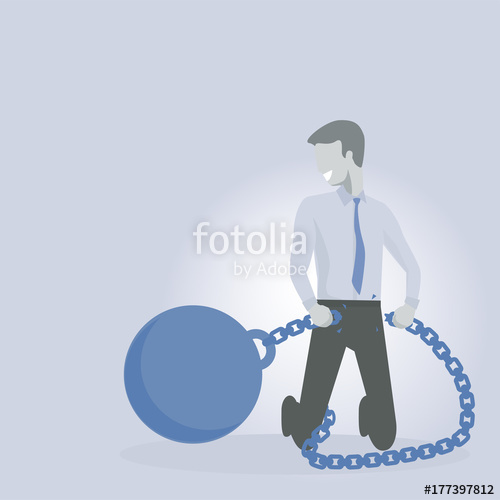 500x500 Business Man Or Executive Breaking Free Of Ball And Chain. Debt