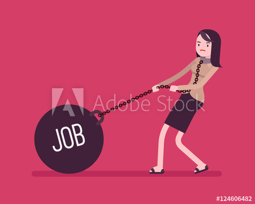 500x400 Businesswoman Dragging A Giant Heavy Weight On Chain, Written Job