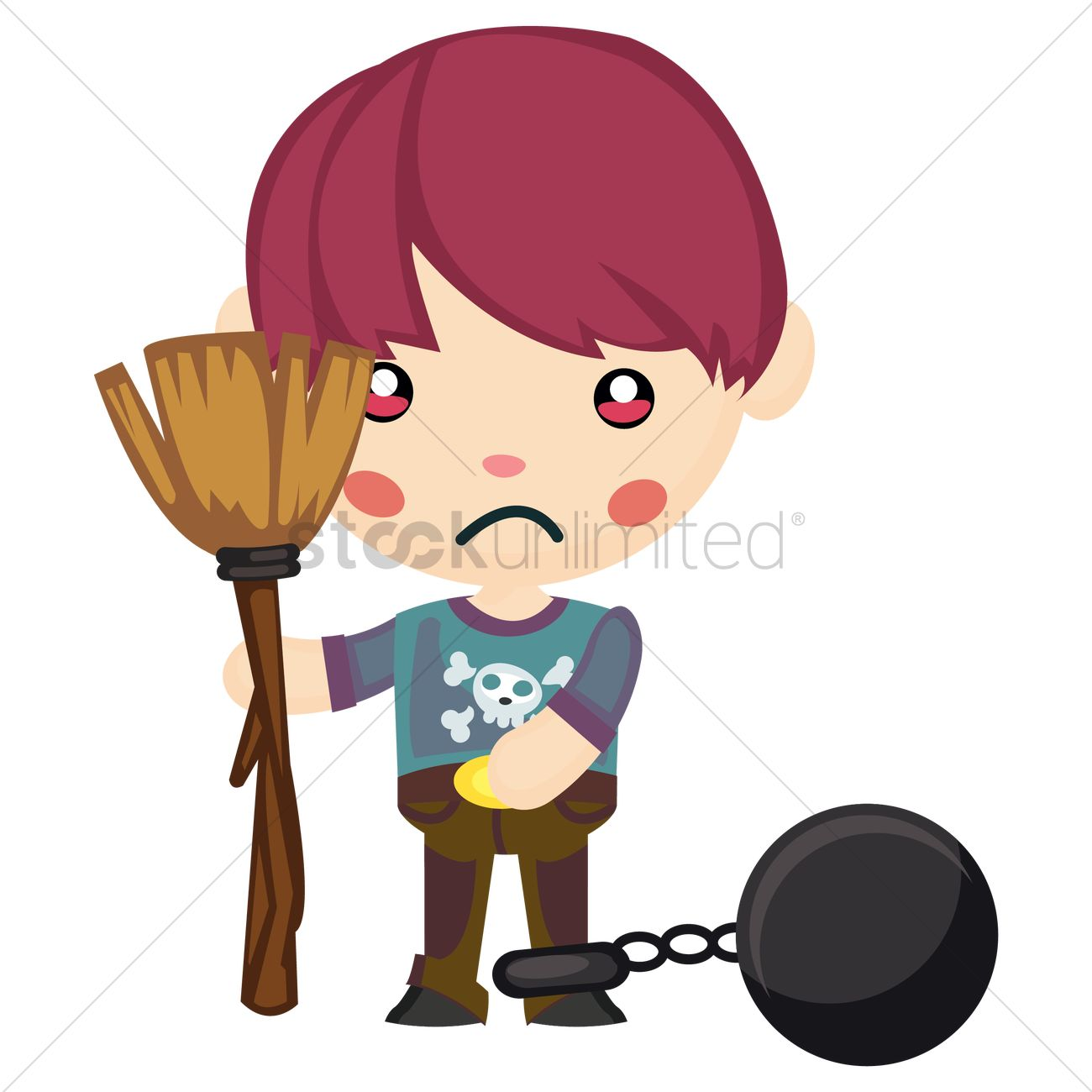 1300x1300 Cute Boy In Ball And Chain With Broom In Hand Vector Image