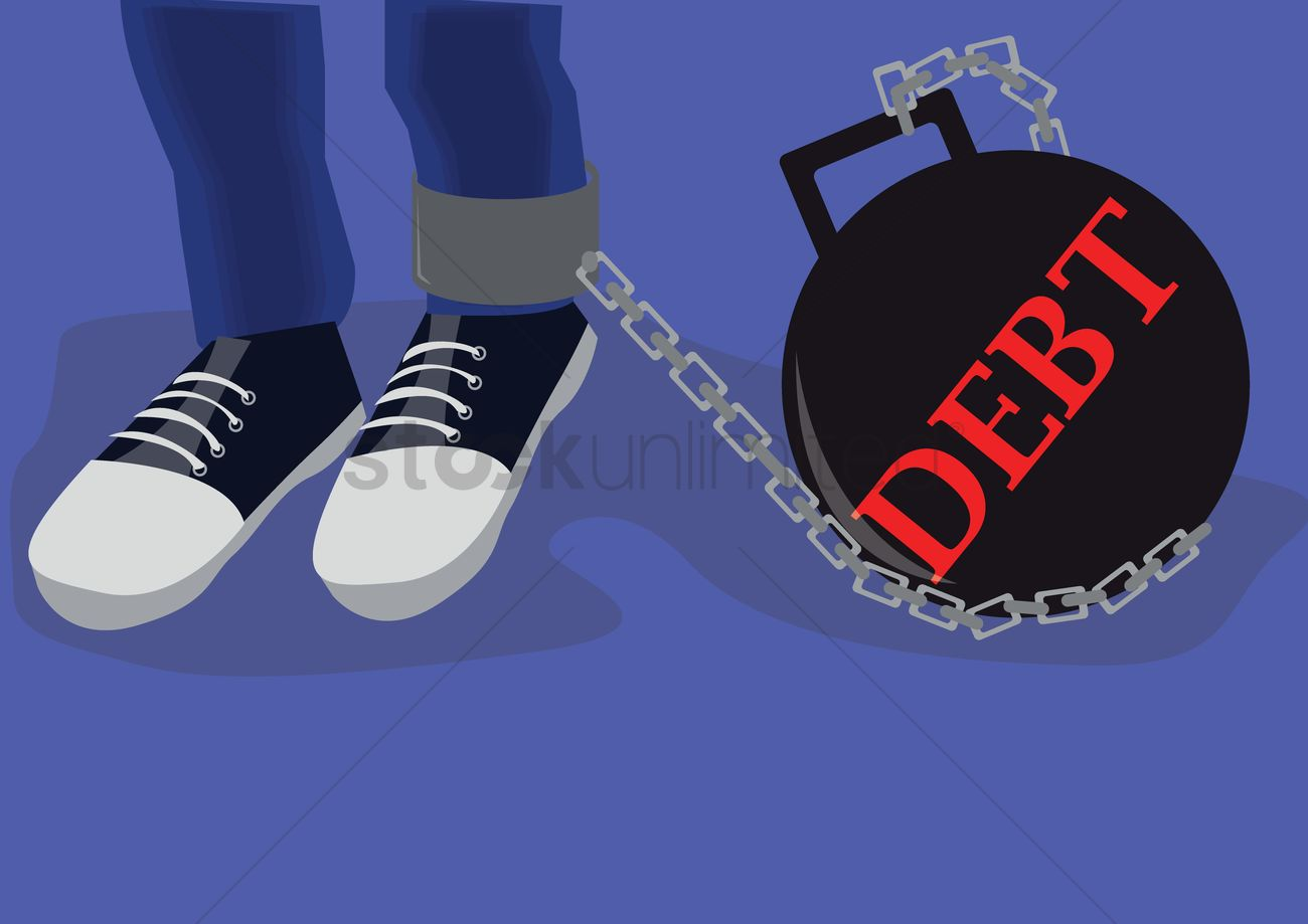 1300x919 Debt Ball With Chain Vector Image