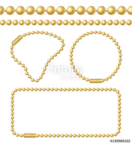 458x500 Golden Chain Of Ball Links Set. Vector Stock Image And Royalty