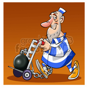 300x300 Royalty Free Prisoner Carrying Ball And Chain On Dolly 393943